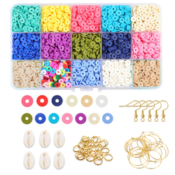 Polymer Clay Beads Chip Disk Loose Spacer Mixed Cowrie Shell Beads Delica Heishi Beads Pendant Beading DIY Jewelry Making Kit