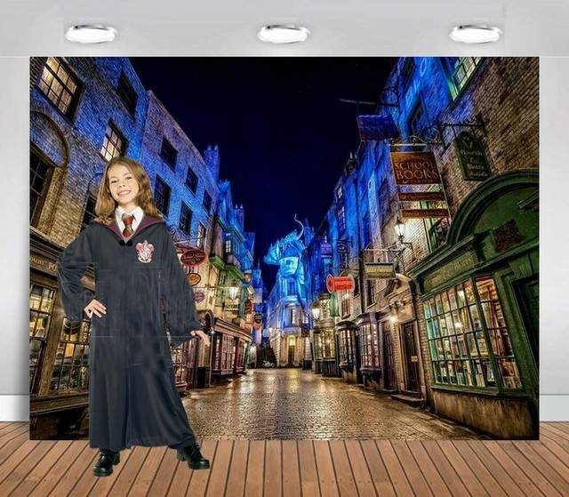 Fondo de Harry town street diagon alley impresión de alta calidad fondo de fiesta de cumpleaños para niños