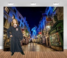 Harry town street diagon alley backdrop High quality printing kids happy birthday party background