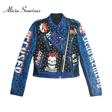 2020 Spring Women Faux Leather Jacket Lettered Graffiti Printed Rivet Slim Cool Leopord Pattern Tops Biker Coat AS71271