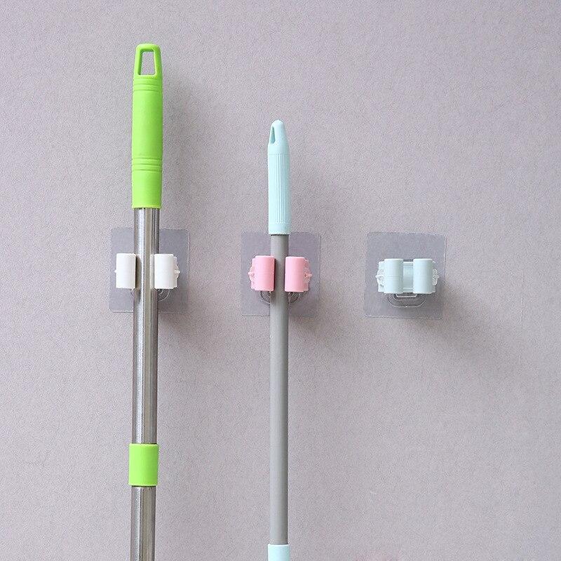 Mop Holder Wall Mounted Mop Organizer Holder Household Kitchen Bathroom Adhesive Storage Broom Hanger Clip Mop Hook Racks