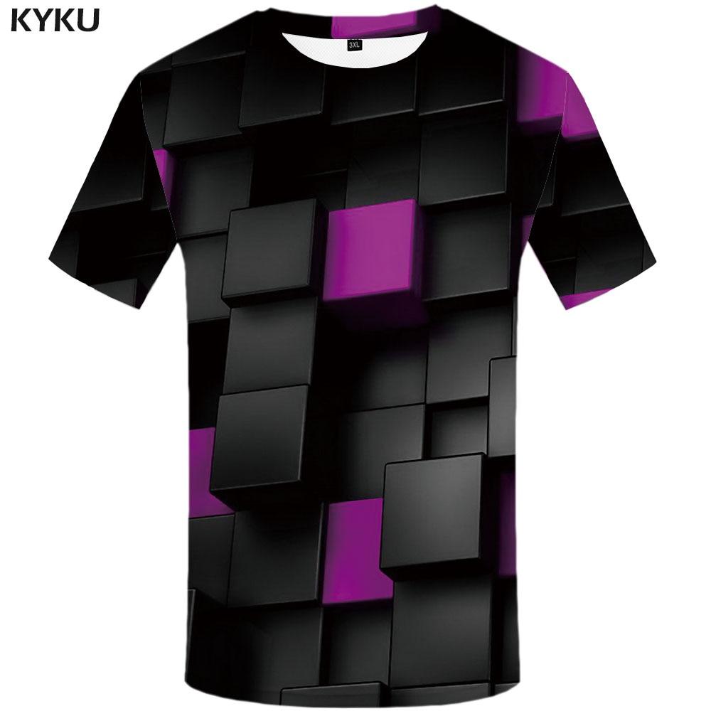 KYKU rubik's cube футболки мужские футболки психоделическая футболка 3d принт футболка тетрис повседневная черная Россия мужская одежда Новинка