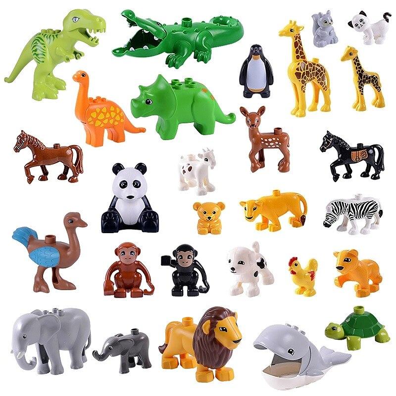 Duploed Animals Set Building Blocks Figures Dinosaurs Crocodile Elephant Zoo Series DIY Blocks Kids Educational Toys Gifts