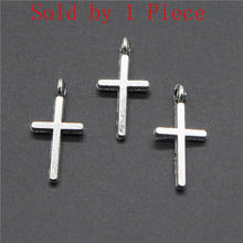 Sales Retail 1 Piece 16x8mm Small Cross Mini Cross Charms Earring Charms Accessories Women(China)