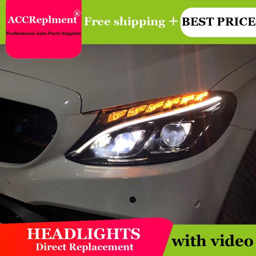 AUTO. PRO fari per Benz C-Class W205 15-18 auto styling bi xenon lente HA CONDOTTO LA luce di guida DRL h7 fari allo xeno per Benz W205