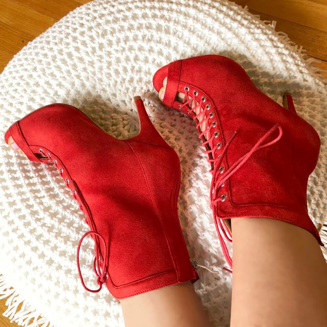 Discounts Salsa Jazz Ballroom Latin Dance Shoes For Dancing Women Standard Latina High Heels Rhinestones 1032 Summer Boot Red