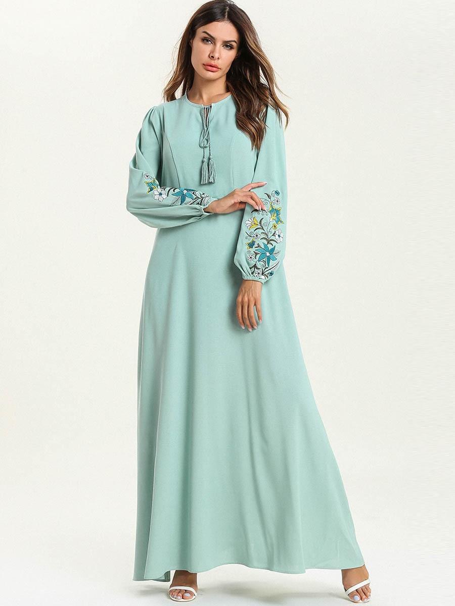 Abaya Dubai mode grande taille en vrac couleur unie broderie dentelle à manches longues Musulmane Femme robe - 3