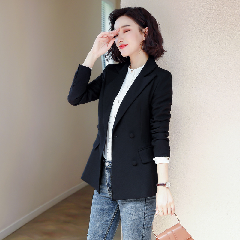Temperament professional women's jacket 2019 new double-breasted long-sleeved ladies black suit Elegant office female blazer