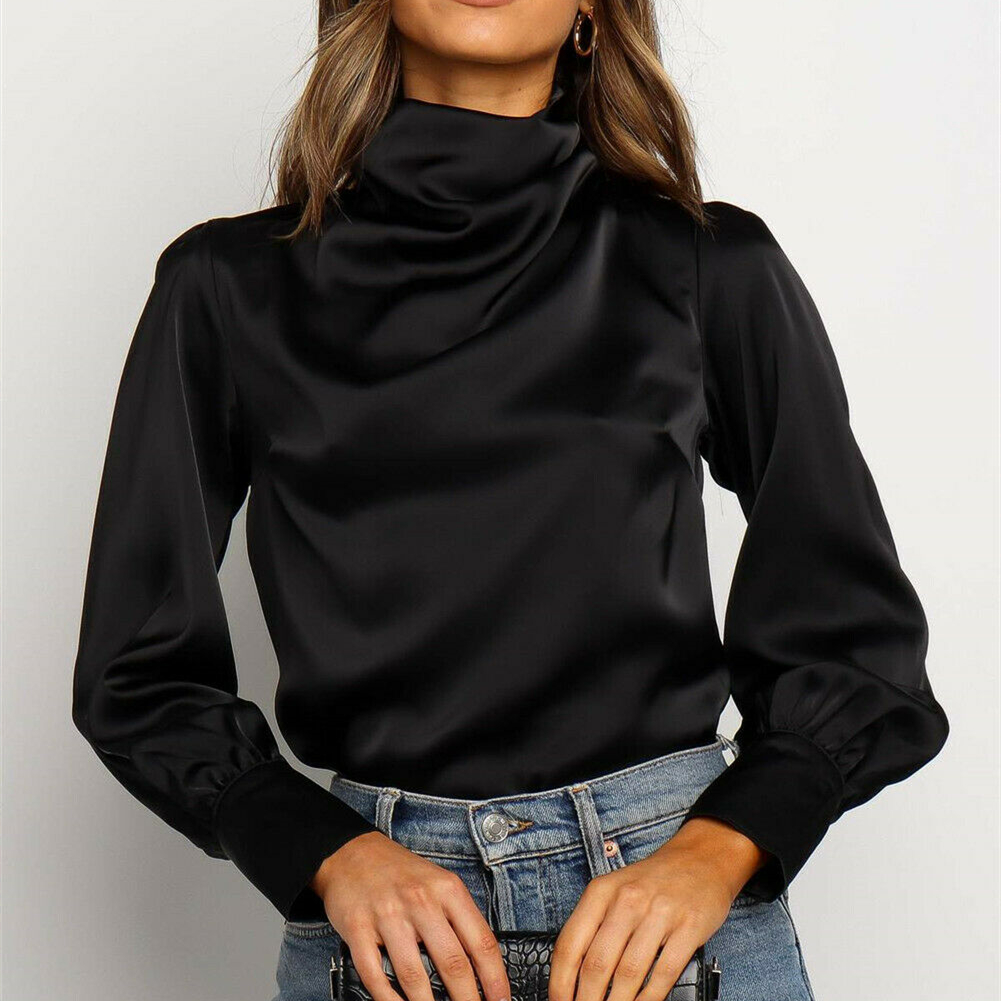 Autumn Silk Satin Black Blouses Women Long Sleeve High Neck Chic Shirts OL High Street Solid Blouse 2020 Smaller Size