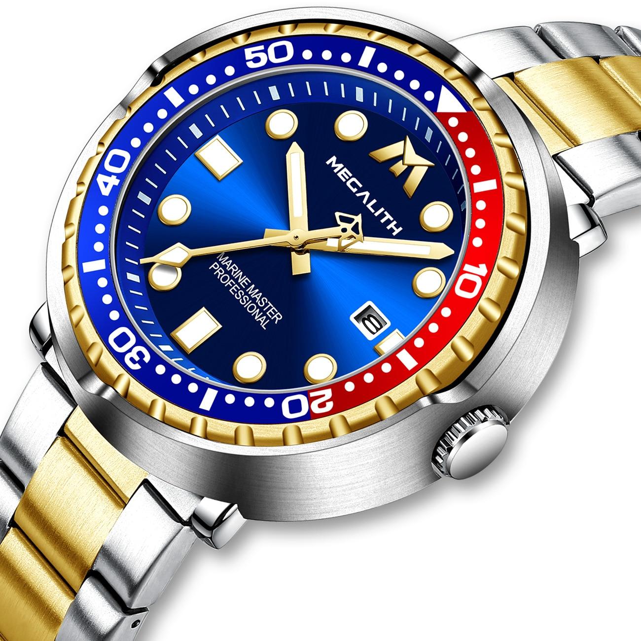 2021 MEGALITH Новые Полностью стальные часы для дайвинга мужские спортивные кварцевые часы мужские водонепроницаемые светящиеся Роскошные нару...