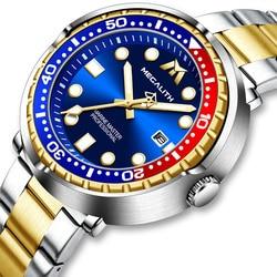 2021 MEGALITH New Full Steel Diving Watches Men Sports Quartz Watch Men Waterproof Luminous Luxury Wrist Watches Male Gift Clock