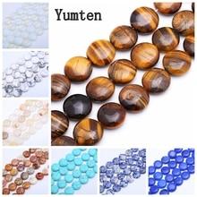 цена на Yumten Round Tiger Eye Bead 14mm* 14mm Natural GemStone Loose Beads Wholesale Jewelry Turquoise Rose Quartz Agate DIY Bracelet