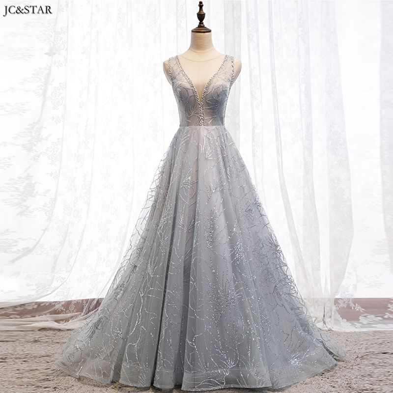 Robe Mariage Femme New Lace Sequins Sexy V Neck Back A Line Silver Bridemaids Dresses For Wedding Plus Size Vestido Para Festa