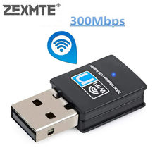 Zexmte 300Mbps Wifi Netwerk Adapter Voor Pc/Desktop/Laptop RTL8192 Chipest Mini Travel Usb Wifi Reciver Ondersteuning mac Os X