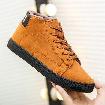 Men's shoes winter comfortable warm wild men's casual shoes plus velvet thick snow boots fashion popular retro chelsea boots 1