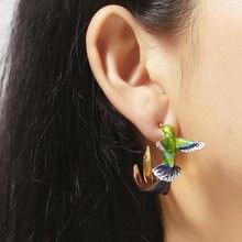Симпатичные колибри в форме капли масла серьги гвоздики медь