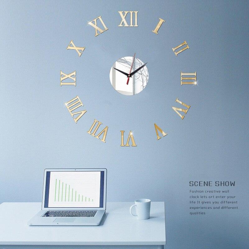 3D Wall Clock Acrylic Mirror Wall Stickers Modern DIY Wall Clocks Home Decor Living Room Quartz Needle reloj de pared 2020 NEW 16