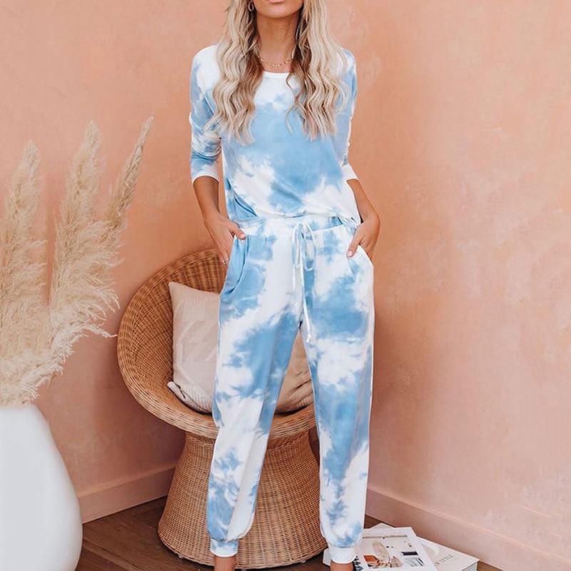 2020 New Tie Dye Printed Women Pajamas Set Long Sleeve Tops And Long Pants Pijamas Feminino Nightwear Casual  Sleepwear