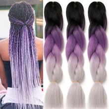 Ombre синтетика плетение волосы наращивание для вязание крючком косы 24% 27% 27 100 г Jumbo косы два тон Ombre цвет розовый черный серый