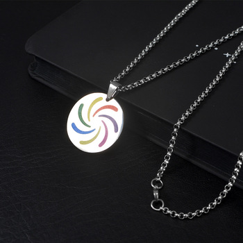 Wukaka Fashion Rainbow Gay Pride LGBT Necklace Windmill Square Girl Boy Symbol Stainless Steel Necklaces Men Jewelry 9
