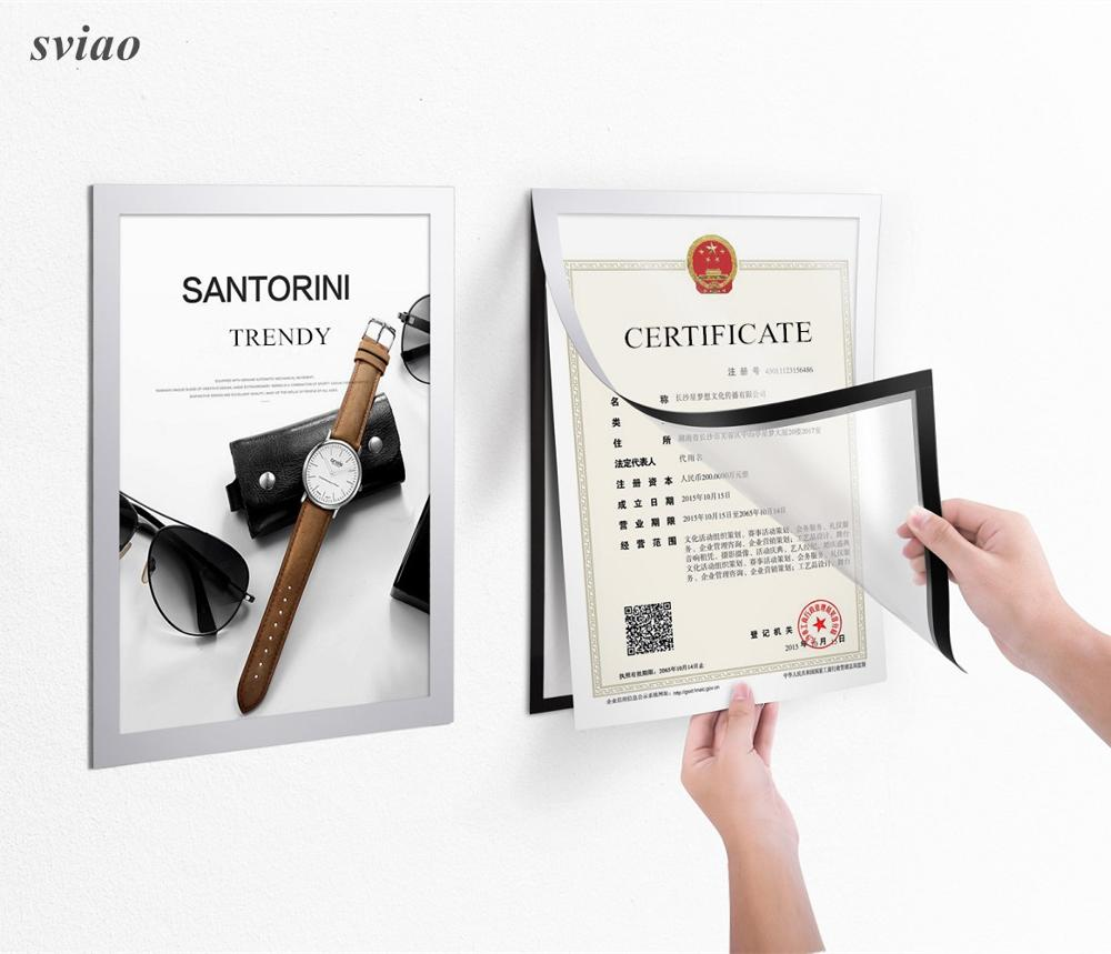5 Pcs A4 Flexible PVC Frame For Pictures Documents Notice Posters Wall Mounted Silver Frame