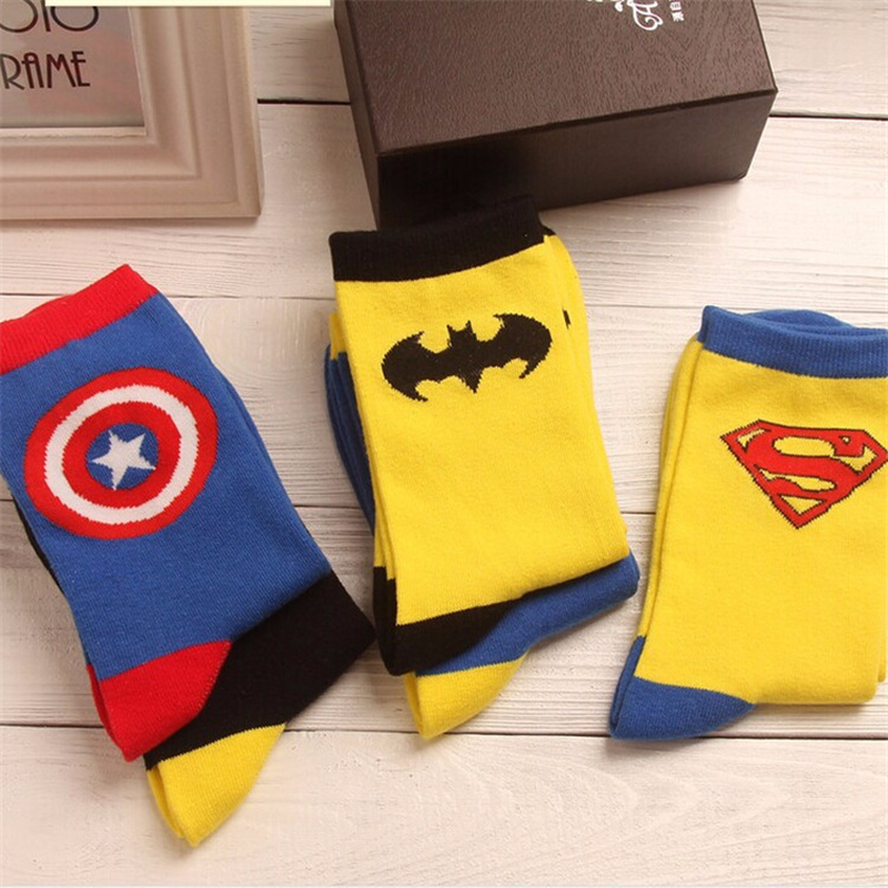 2019 New Superhero Movie Superman Batman Cotton Socks Cartoon American Captain Socks Unisex Cosplay Boy Girl Gift