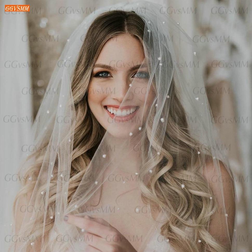 Фата свадебная женская с жемчугом, фата свадебная цвета слоновой кости, с бисером, свадебный аксессуар, 75 см, с расческой, 2020