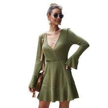 цена на Chic solid color fashion dress dress autumn and winter new dress V-neck sexy knit dress women