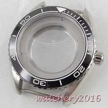 45mm PARNIS ceramic bezel Horloge Case fit Miyota 8215 2836 automatische beweging