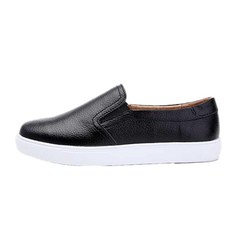 WDHKUN kobiety panie kobieta Gril prawdziwej skóry białe buty mieszkania Platforn trampki Slip On miękkie buty wulkanizowane ZQMF-960