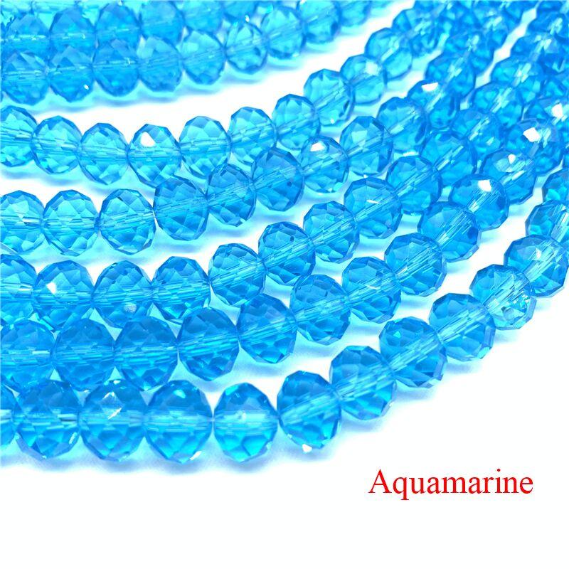 3X4/4X6/6X8/8X10 мм хрустальные бусины Рондель стеклянные бусины граненые хрустальные бусины для изготовления ювелирных изделий Аксессуары перевод Diy - Цвет: Aquamarine