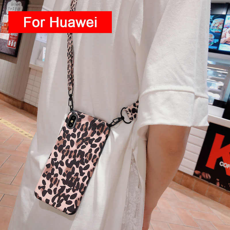 Leopard Lanyard untuk Huawei P20 Lite P30 Pro P10 PLUS NOVA 3 3i Kehormatan 8X 9X 10i 20 tali Leher Bahu Tali TPU Cover