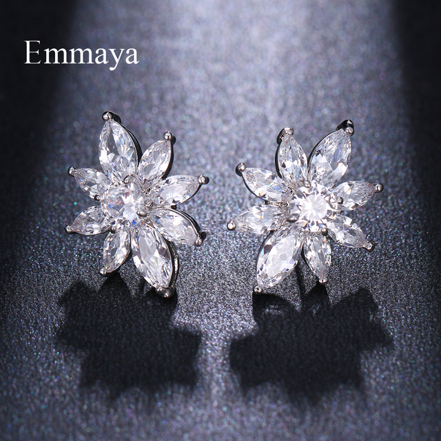 Emmaya For Women Geometry Symmetrical Style Stud Earring With AAA Zirconia Two Colors Distinctive Gift For Friend Popular Party