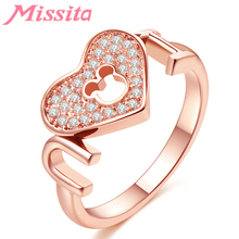 MISSITA Romantic Mickey Love You Rings for Women Heart Crystal Rose Gold Wedding Finger Ring Gift Brand Fashion Jewelry Bague brand design lock red heart ring for women vintage copper jewelry five star finger rings luxury brand fashion love jewelry
