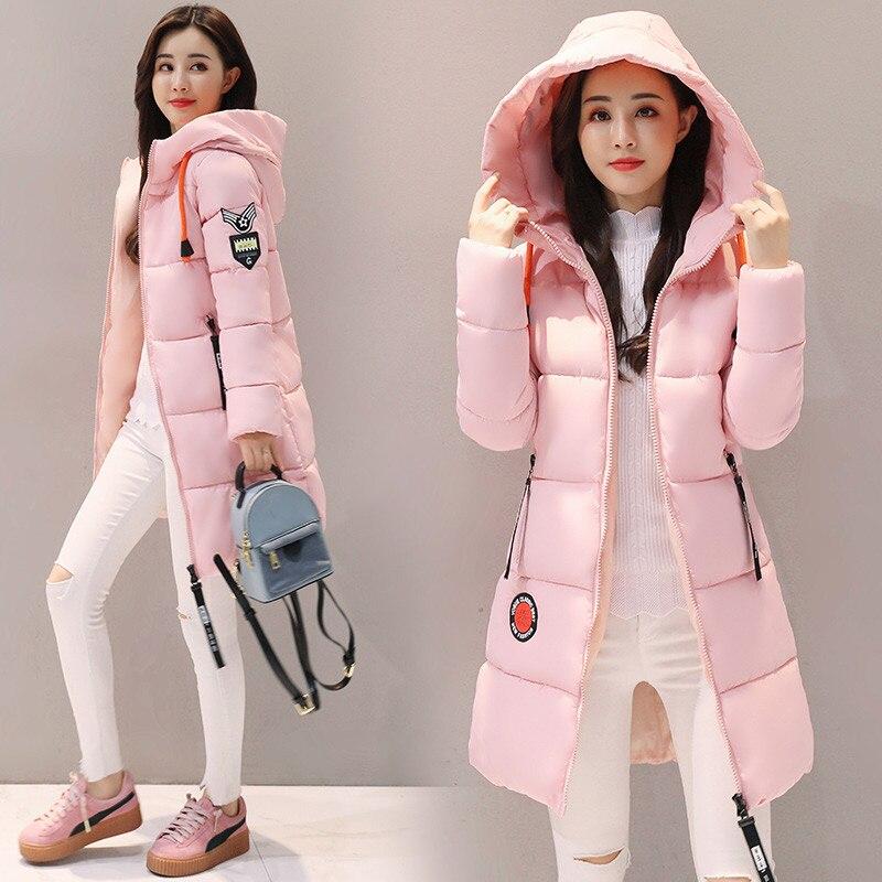 Women   Parka   2019 Winter Jacket Coat Hooded Outwear Female Long   Parkas   Feminine Thick Cotton Padded Lining Lady Basic Coats