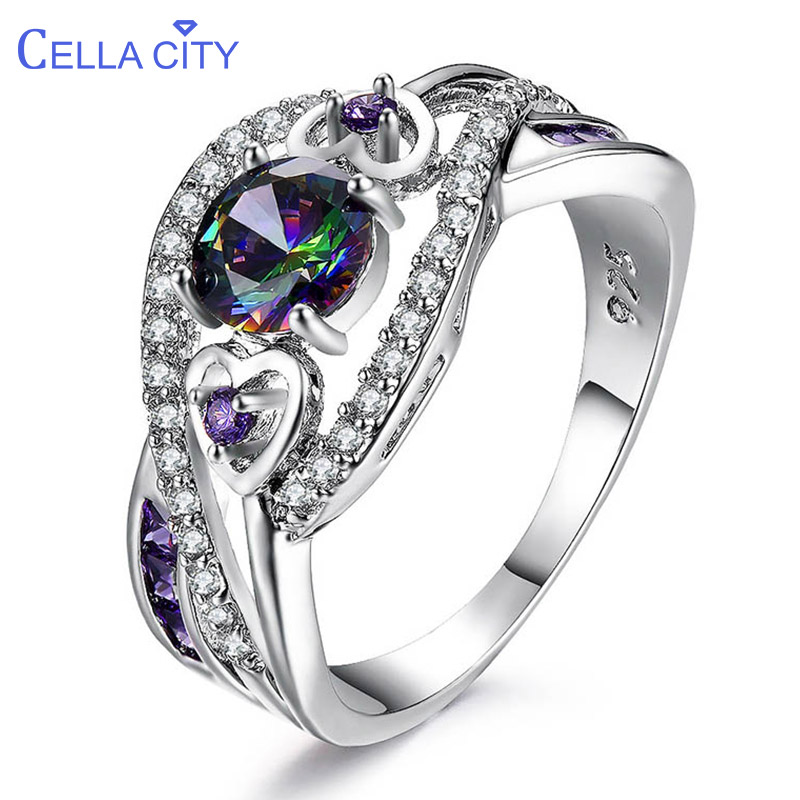 Cellacity Trendy Gemstones Ring For Women Silver 925 Fine Jewelry Round Aquamarine Topaz Zircon Size5-10 Female Gift Wholesale