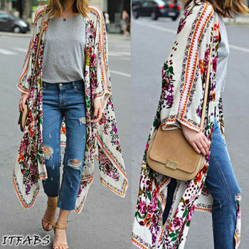 Women Loose Floral Print Blouse Summer Casual Boho Chiffon Coat Shawl Kimono Cardigan Tops Plus Size 3XL 2