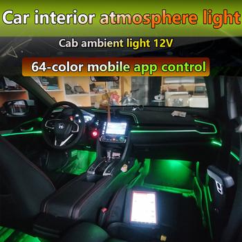 Nowy dźwięk aktywny EL Neon taśma z drutu światła RGB LED samochodów wewnętrzna lampka Multicolor telefon z Bluetooth kontroli nastrojowe oświetlenie 12V zestaw tanie i dobre opinie NoEnName_Null Lampa atmosfera