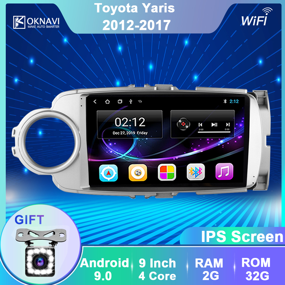 OKNAVI Android 9.0 Car Radio GPS Multimedia Player For Toyota Yaris 2012 2013 2014 2015 2016 2017 Video Navigation 2 Din No DVD