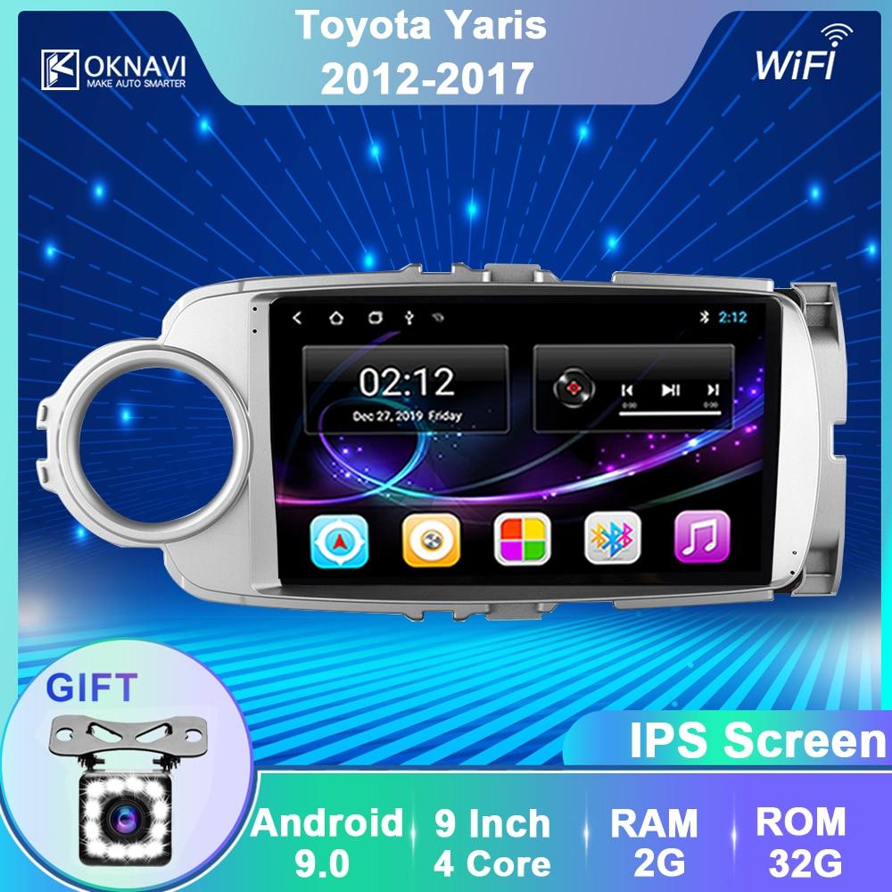 OKNAVI Android 9.0 Car Radio GPS Multimedia Player For Toyota Yaris 2012 2013 2014 2015 2016 2017 Video Navigation 2 Din No DVD