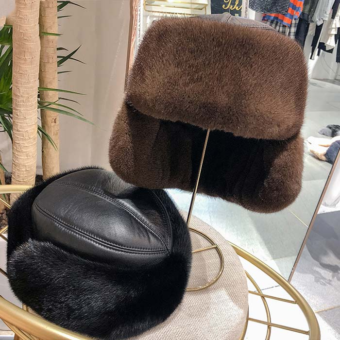 Middle-Aged And Old Men'S Mink Fur Hats Warm Earmuffs With Sheepskin Leather Hats