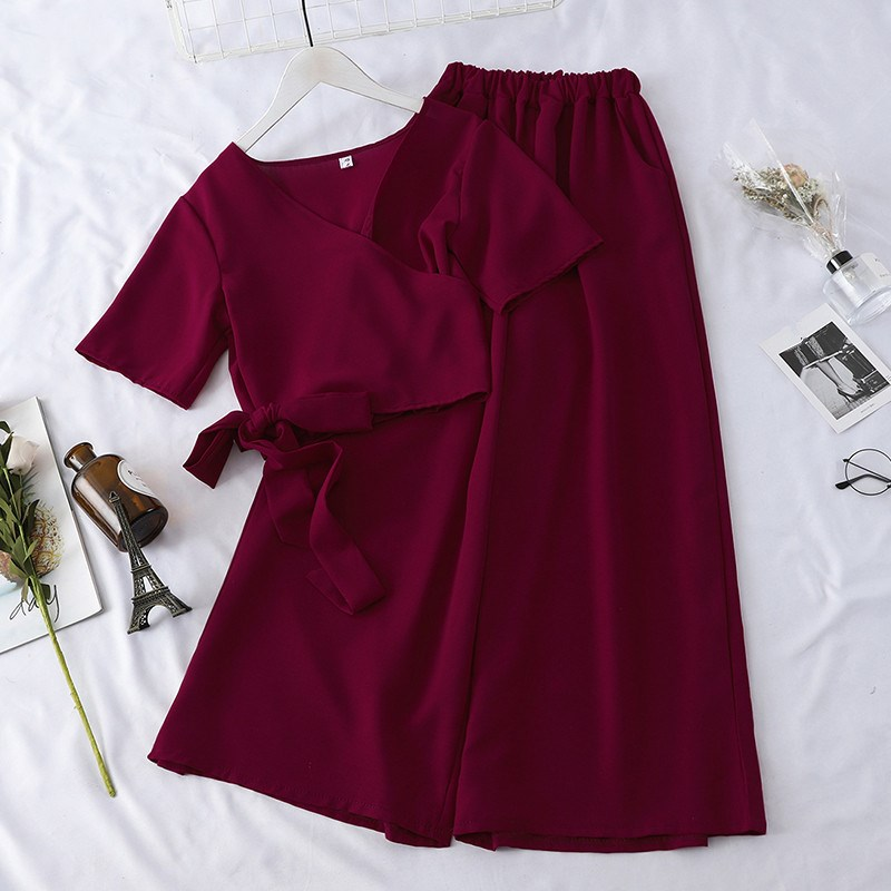Fashion Women Nice Tide Summer V Neck Suits Korean  Bandage Crop Tops Loose Long Pants Two Piece Sets Casual Slim Sport Suits