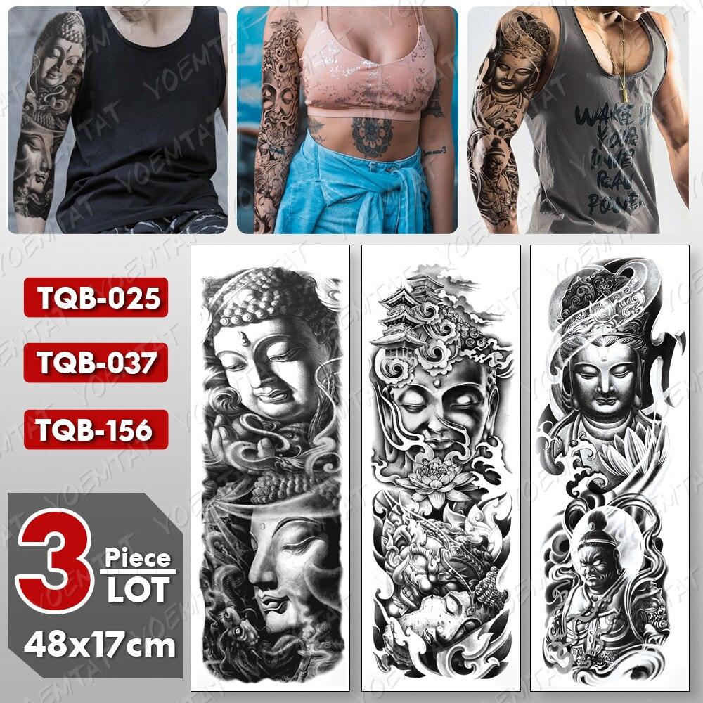 3 Pcs/lot Large Arm Sleeve Tattoo Buddha Waterproof Temporary Tatto Sticker Shakyamuni Body Art Full Fake Tatoo Women Men