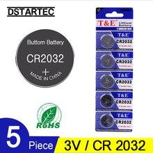 5 шт. 30 мА/ч батарейки CR2032 DL2032 CR 2032 KCR2032 5004LC ECR2032 3 В литиевая батарея для часов игрушки светодиодный светильник