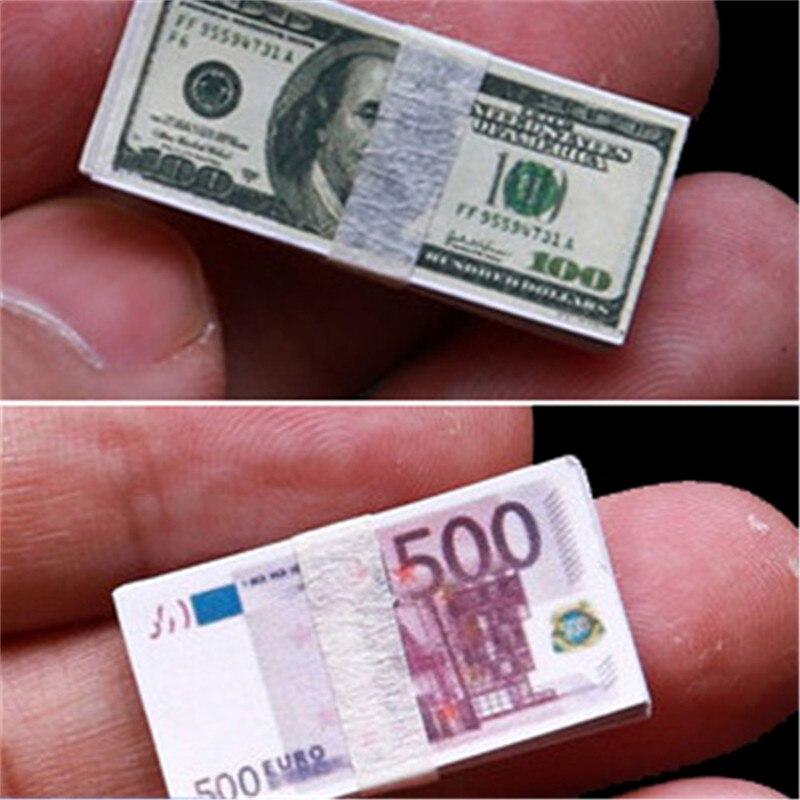 1/12 ölçekli yaratıcı Mini dolar Euro para minyatür banknot çocuk oyuncağı hediyeler Dollhouse minyatür aksesuarları
