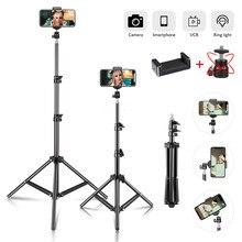 Trépied Selfie extensible jusqu'à 2.1M, pour téléphone, boîte à lumière avec tête rotative