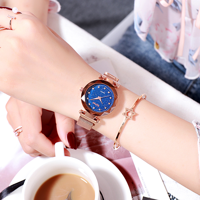 Women Bracelet Watch 2019 Casual Fashion Quartz Ladies Wrist Watch Starry Sky Magnetic Stardust Watches Female Clock reloj mujer in Women 39 s Watches from Watches