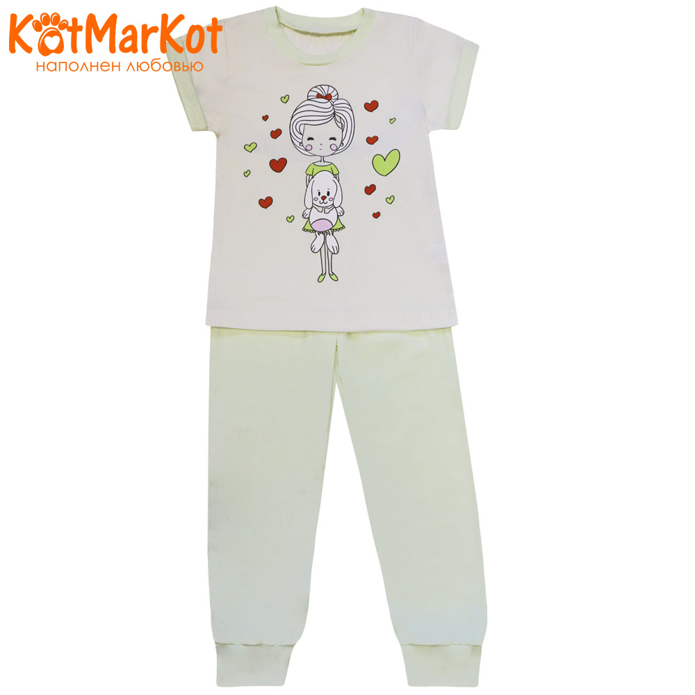 Pajama Sets Kotmarkot 16557 children's pajamas for boys and girls sleep t-shirt and shorts pajama pants Cotton Girls shein kiddie toddler girls letter print jumpsuit and floral print pants and headband long sleeve casual suit for girl sets