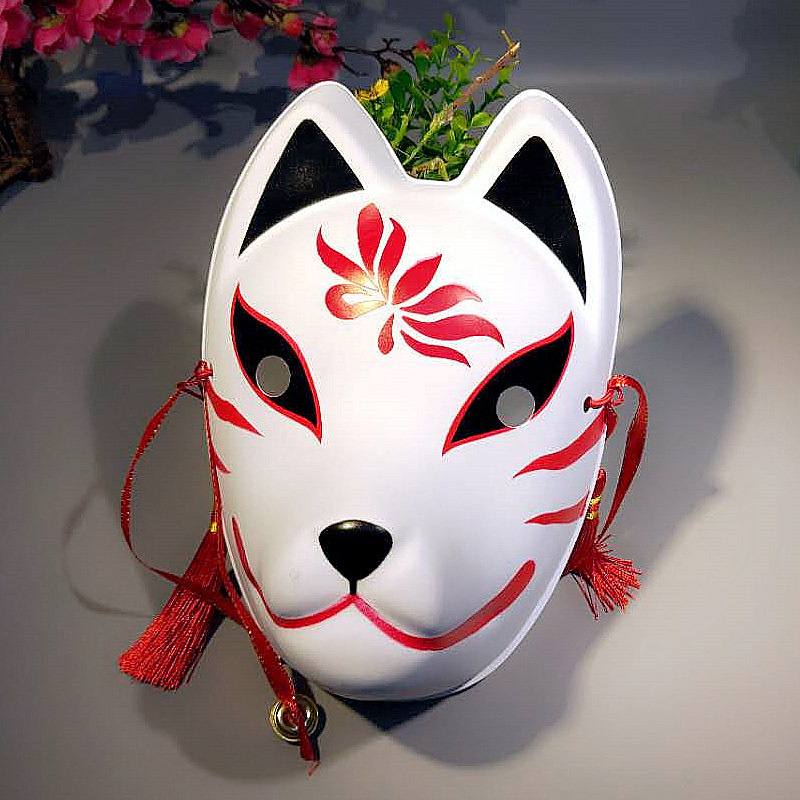 Full Face Fox Mask Japanese Anime Hand-painted Kitsune Halloween Cosplay Mask Pvc Mask Cosplay And Photo Tools