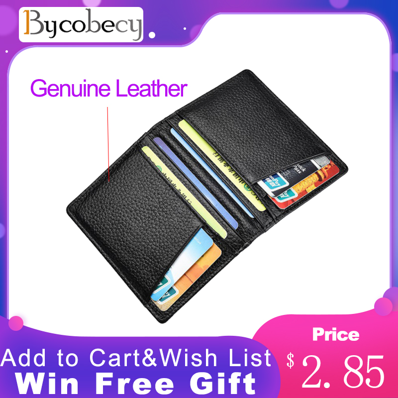 Bycobecy Mini Credit Card Holder Wallet Super Slim Soft Wallet 100% Genuine Leather Purse Card Holders Men Wallet Thin Small